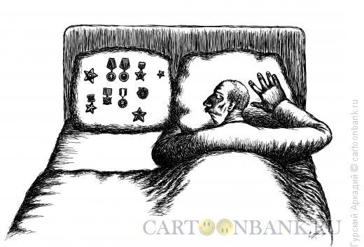 Карикатура: Подушка с наградами, Гурский Аркадий