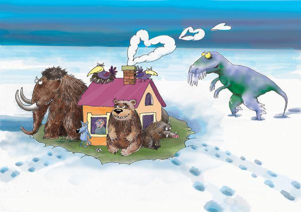 Карикатура: теплый дом, Алла Сердюкова