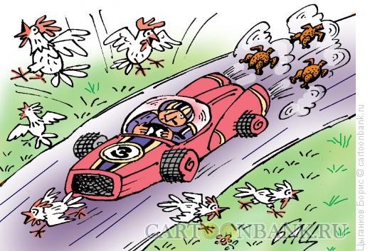 Карикатура: Формула-5, пошли цыплята погулять, Цыганков Борис