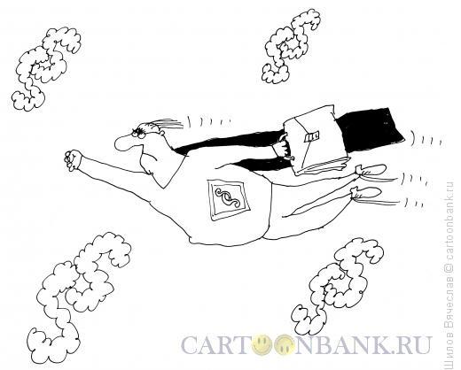 Карикатура: Бюрократ-супермен, Шилов Вячеслав