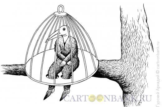 Карикатура: человек-птица, Гурский Аркадий