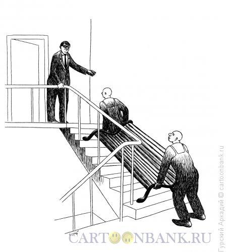 Карикатура: скамейка в подъезде, Гурский Аркадий