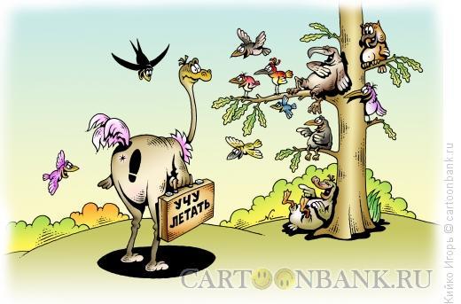 Карикатура: Учу летать, Кийко Игорь