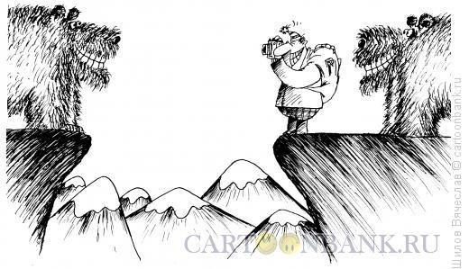 Карикатура: Фотограф и медведи, Шилов Вячеслав