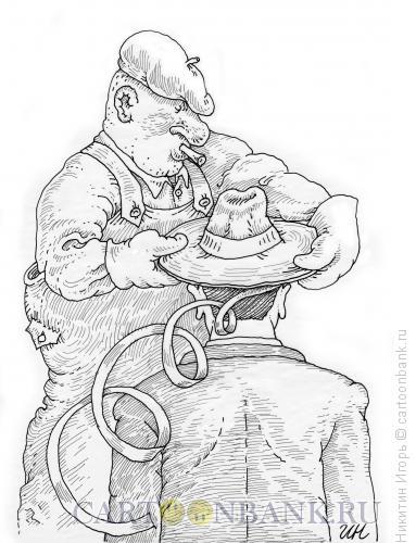 Карикатура: Шляпа с резьбой., Никитин Игорь