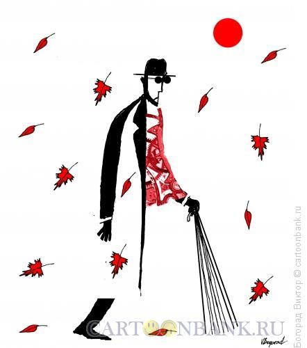Карикатура: Слепой и осень, Богорад Виктор