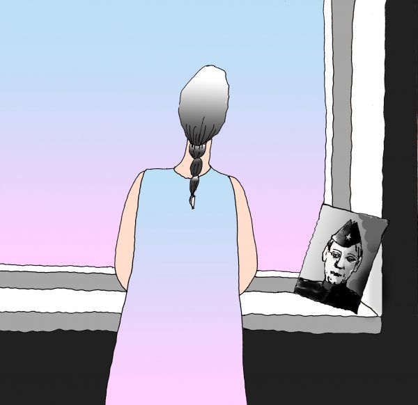 Карикатура: ВМЕСТЕ  С  ДЕДОМ...ПЕРЕД  МАРШЕМ  ПАМЯТИ, Николай Кинчаров