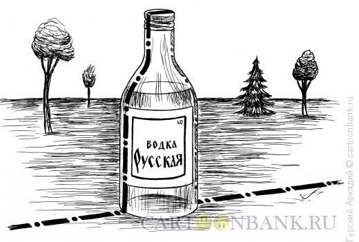 Карикатура: бутылка на границе, Гурский Аркадий