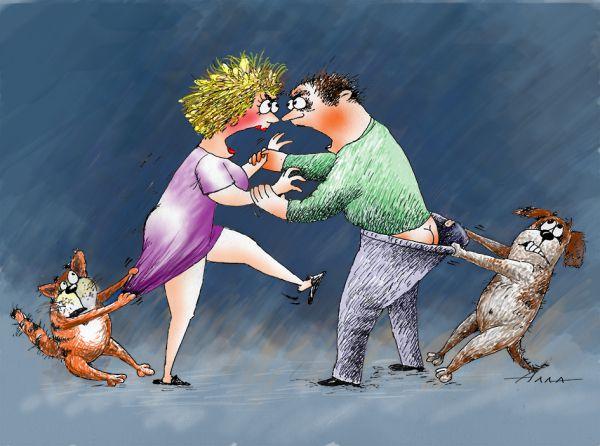 Карикатура: как кошка с собакой, Сердюкова Алла