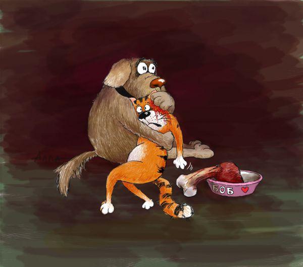 Карикатура: Бобик убивает своего друга, Алла Сердюкова