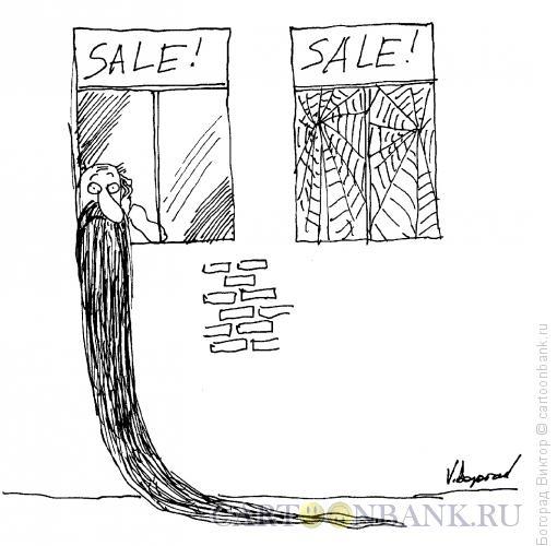Карикатура: Затянувшаяся продажа недвижимости, Богорад Виктор