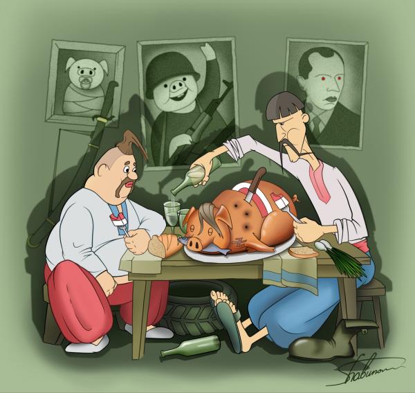Карикатура: Побратимы, Александр Шабунов