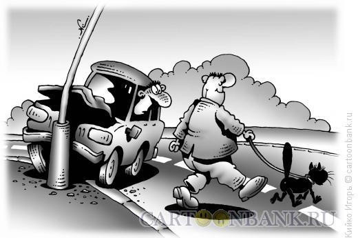 Карикатура: Черный кот и пешеход, Кийко Игорь