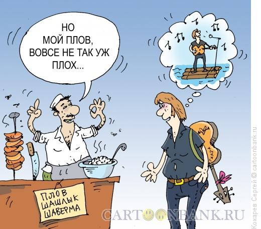 Карикатура: плов и плот, Кокарев Сергей