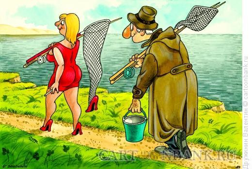 Карикатура: За сачком, Дружинин Валентин