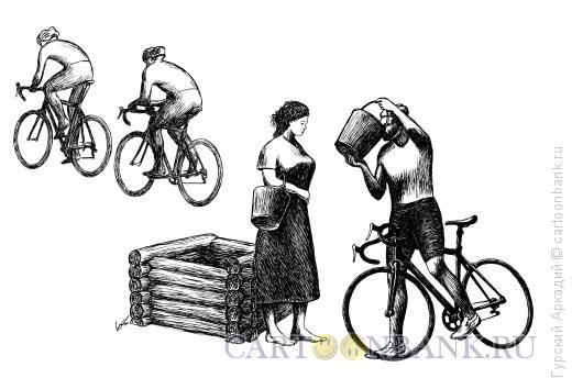 Карикатура: велосипедисты, Гурский Аркадий