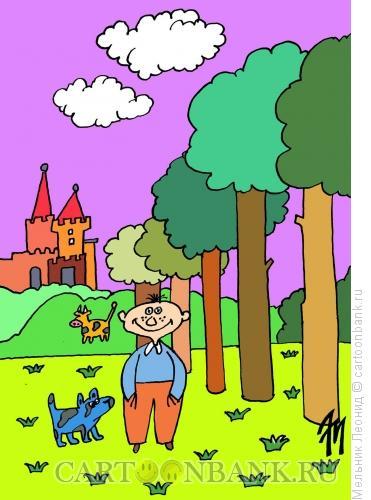 Карикатура: Мальчик в волшебной стране, Мельник Леонид