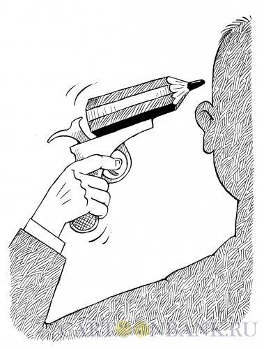 Карикатура: Карандаш-револьвер, Смагин Максим