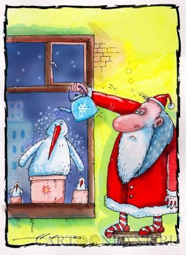 Карикатура: Дед Мороз и его питомцы, Наместников Юрий