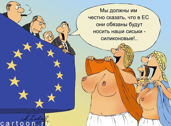 Карикатура: При вступлении в Евросоюз, Александр Зудин