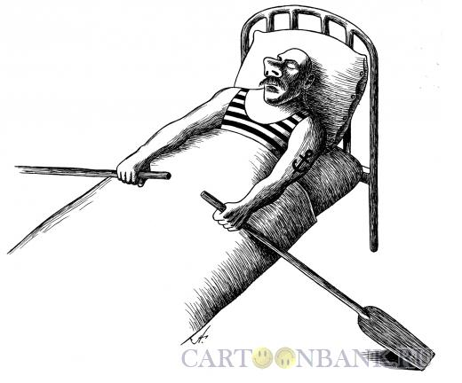 Карикатура: моряк в постели, Гурский Аркадий