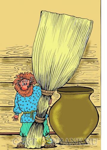 Карикатура: Домовенок, охранящий жилье, Мельник Леонид