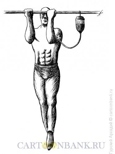 Карикатура: гимнаст на перекладине, Гурский Аркадий