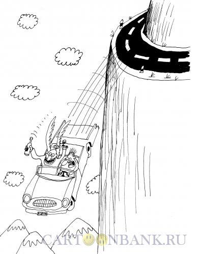 Карикатура: Ангел-хранитель в автомобиле, Шилов Вячеслав