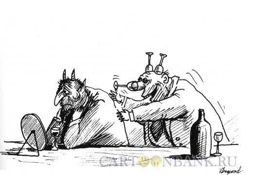Карикатура: Черт и пьяница, Богорад Виктор