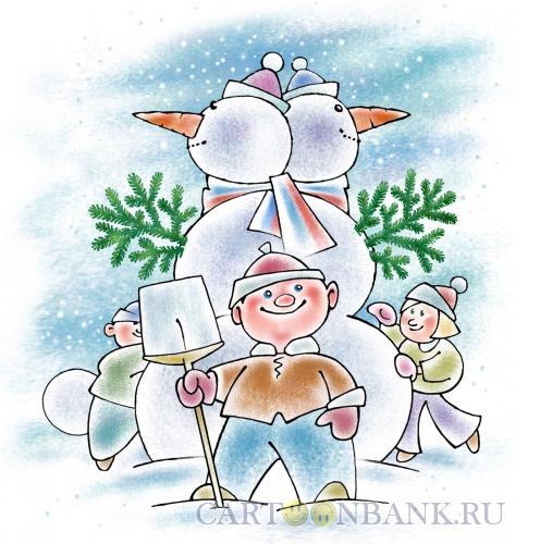 Карикатура: Двуглавый снеговик, Осипов Евгений
