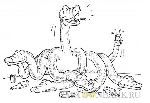 Карикатура: Змей Горыныч - пьяница, Смагин Максим