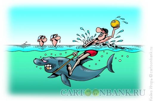 Карикатура: Ватерполист на акуле, Кийко Игорь