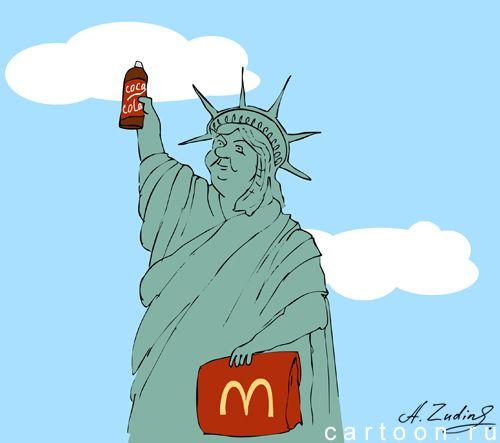 Карикатура: Американские ценности, Александр Зудин