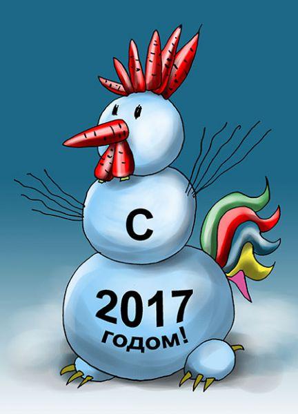 Карикатура: Снеговик 2017, Евгений Кран