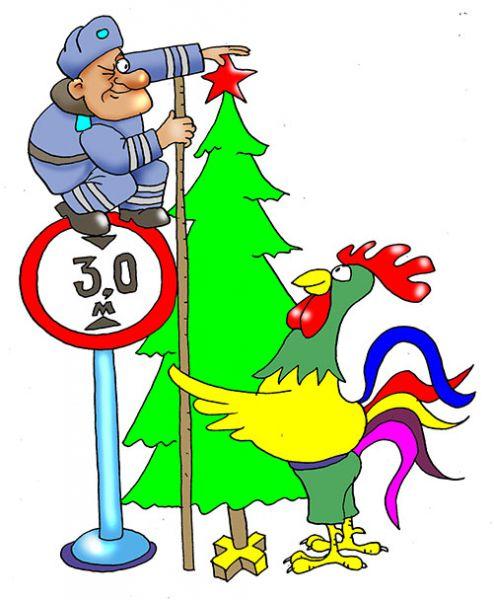 Карикатура: Рождественская елка, Евгений Кран