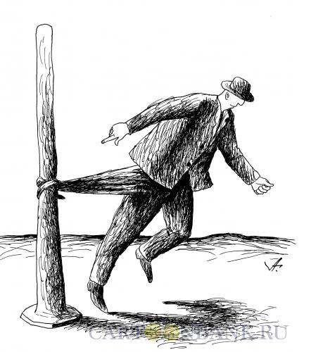 Карикатура: человек у столба, Гурский Аркадий