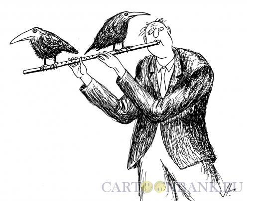 Карикатура: птицы на флейте, Гурский Аркадий