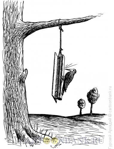 Карикатура: дятел на рельсе, Гурский Аркадий