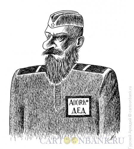 Карикатура: солдат-дед, Гурский Аркадий