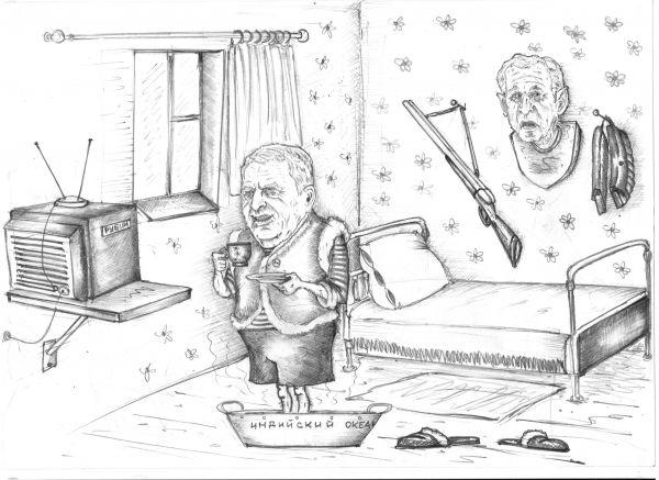 Карикатура: Владимир Вольфович отдыхает на даче, Павел Валерьев