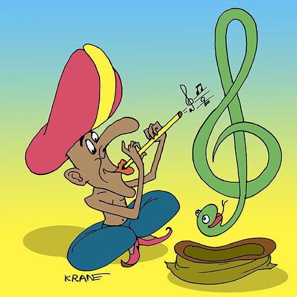 Карикатура: Музыкальный заклинатель змей, Евгений Кран