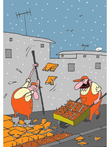 Карикатура: Зимняя плитка, Михаил Ларичев