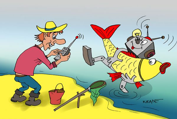 Карикатура: Робот удочка, Евгений Кран