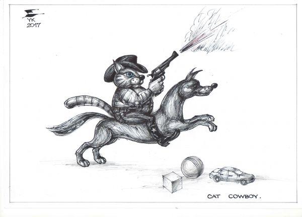 Карикатура: Кот - ковбой ., Юрий Косарев