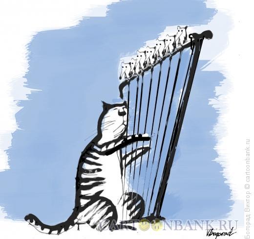 Карикатура: Арфист, Богорад Виктор