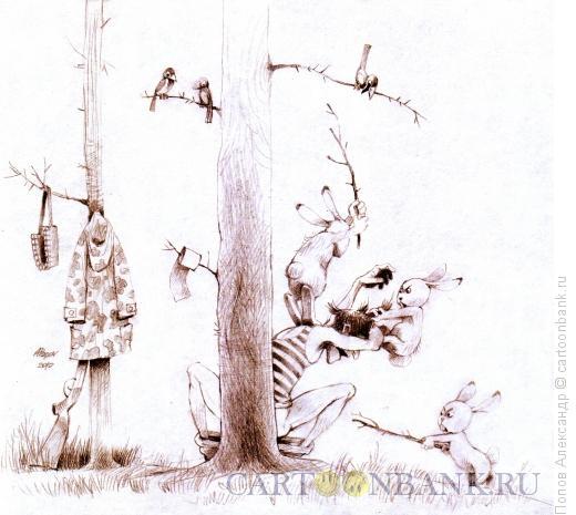 Карикатура: Конец браконьера, Попов Александр