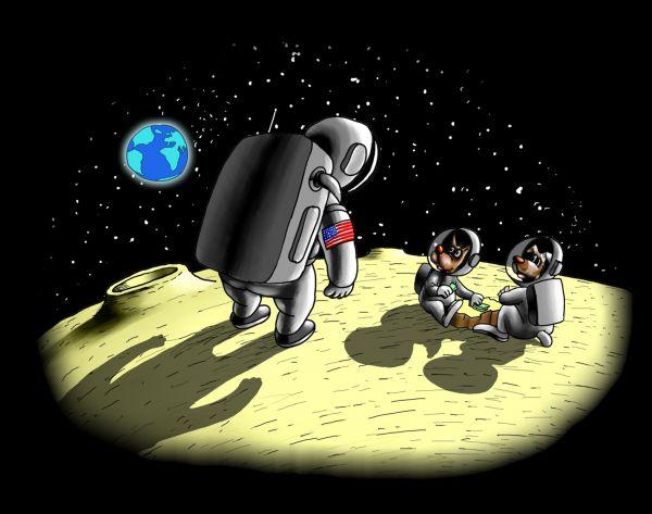 Карикатура: белка и стрелка, Ануфриев