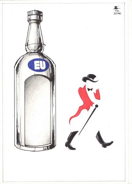 Карикатура: Johnnie Walker покидает Евросоюз ., Юрий Косарев