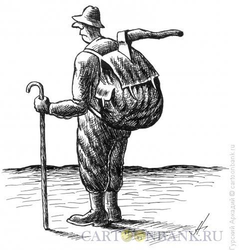 Карикатура: турист с топором, Гурский Аркадий