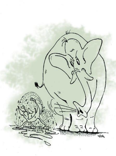 Карикатура: Слон и Моська (вариант) или как критика превращается в самокритику, Капри